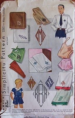 Vintage Simplicity Transfer Pattern Monograms 98% Complete