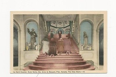 NICE UNUSED RELIGIOUS POSTCARD LE SAINT ESCALIER P.Q. CANADA THE HOLY STAIRS