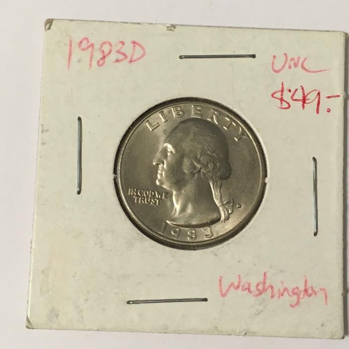 1983-D Washington Quarter Unc/MS  Free shipping.         #DL744