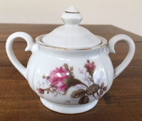 Gold Tinged Flower Floral Sugar Bowl with Lid and Handles