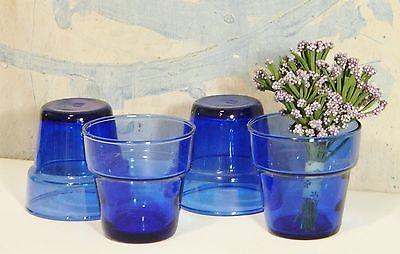 Flower Pots/Candle Holders/Planters/Glass/Cobalt Blue/Cottage/Garden Chic/Set 4