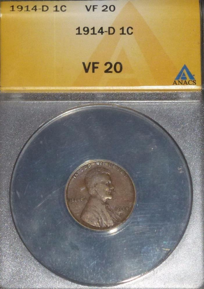 1914-D LINCOLN WHEAT CENT- ANACS VF20 Key Date !!   (475)