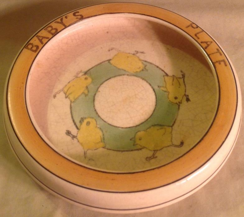 Antique Roseville Pottery Juvenile Child's Yellow Chick Baby's Plate circa 1910