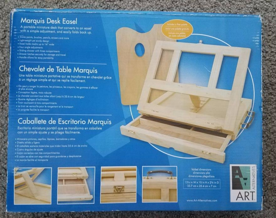 Art Alternatives Marquis Artists Adjustable Desk Box Easel, Natural toy paint