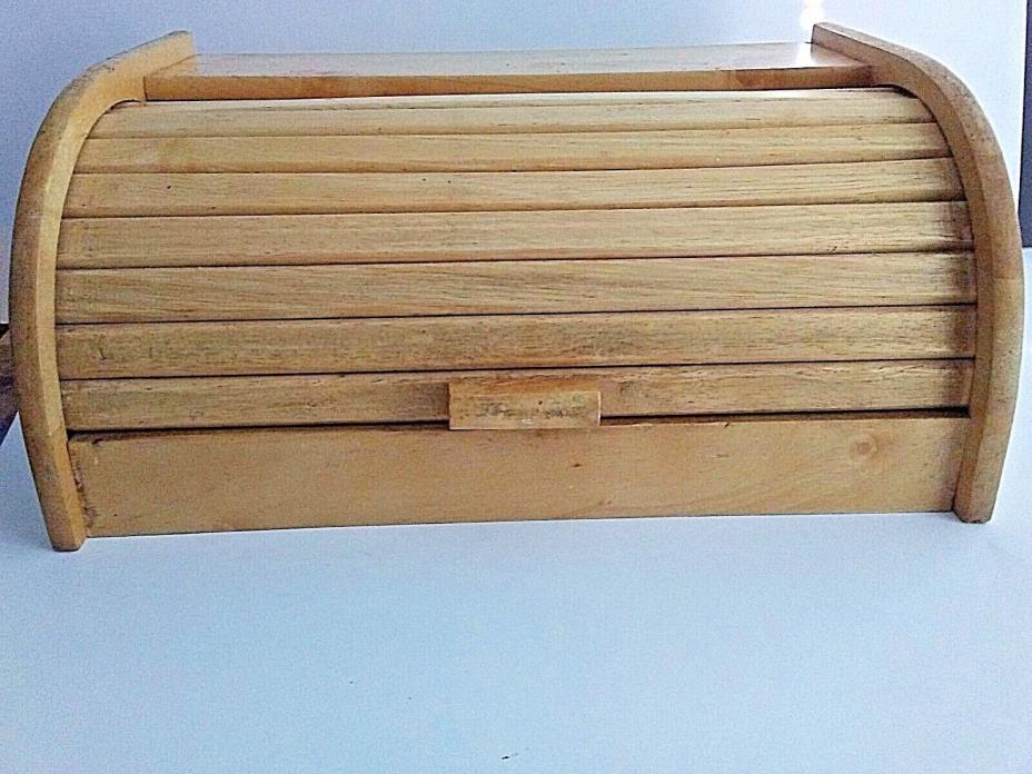 Retro Bamboo Bread Box Rolltop Kitchen Storage Wooden Bin 15 3/4