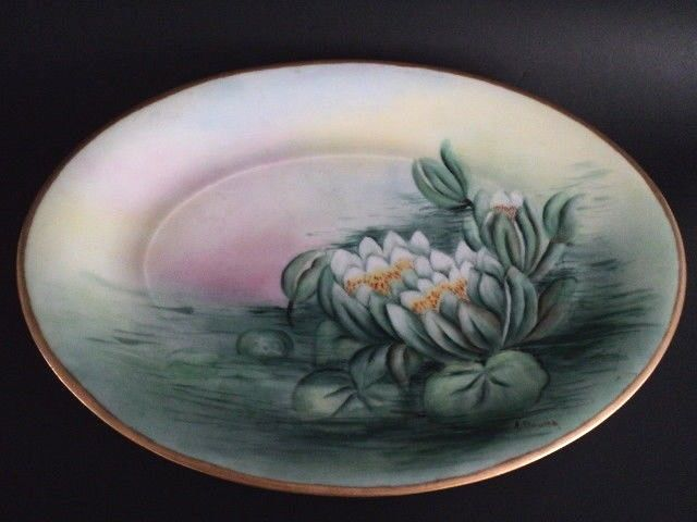 Antique German Silesia Platter Water Lilly Hand Painted signed, Porcelain 15