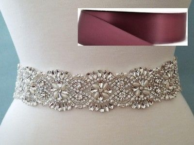 18 INCH LONG Crystal Pearl Wedding Dress Sash Belt = BURGUNDY RIBBON