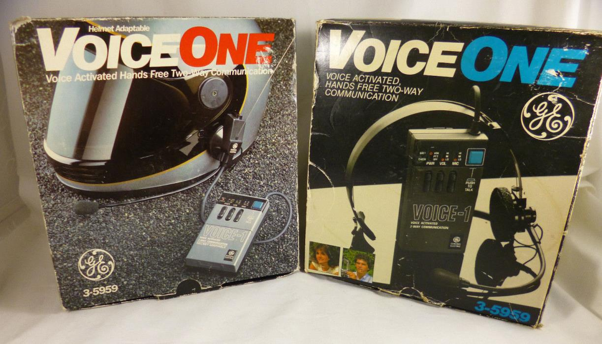 2 General Electric VoiceOne 3-5959 VOX Hands Free Two Way Communication Helmet