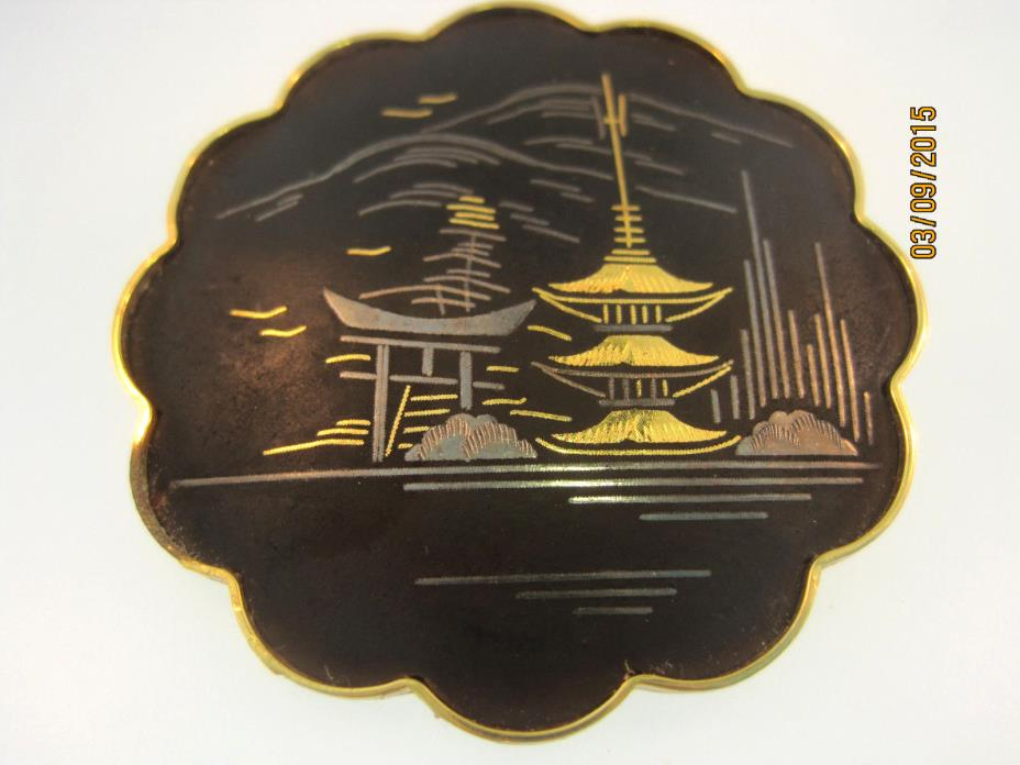 ANTIQUE JAPANESE DAMASCENE BROOCH MARKED AMITA GOLD - SILVER TEMPLES 1920-30
