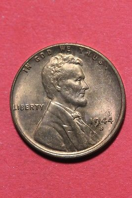 1944 S BU Lincoln Wheat Cent Penny Exact Coin Pictured Flat Rate Shipping TOM08