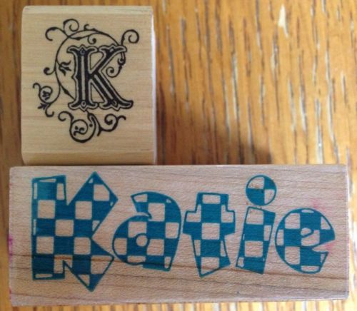 Lot of 2 Initial K & Katie Name Rubber Stamps All Night Media Inkadinkado