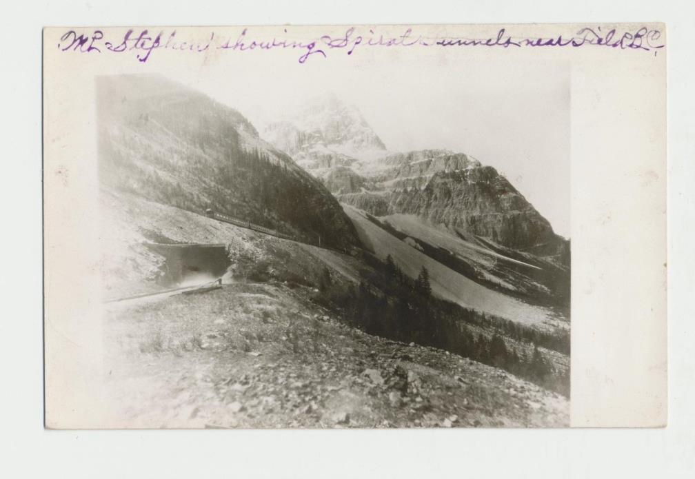 c1940 Field B. C. Canada Mt. Stephen Spiral Railroad Tunnels RPPC Real Photo