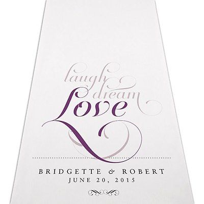 LAUGH DREAM LOVE Personalized Wedding Aisle Runner Church Decoration