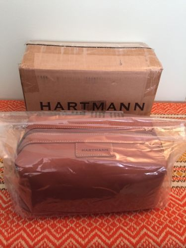 Hartmann Tan Leather Vintage Travel Toiletry Case Shave Kit Bag NOS! New In Box!