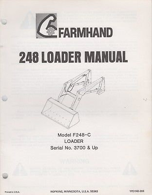1984 FARMHAND 248 LOADER F248-C OPERATOR'S & PARTS MANUAL 1PD140-884 (874)