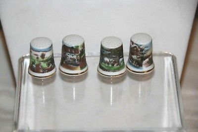 4 Vintage Thimbles Scenery Landscape Horses Gold tone Made in Japan