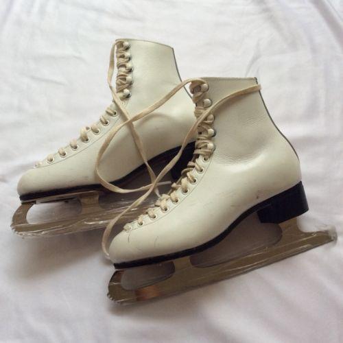 Wifa White Ice Skate Boots Women's Size 4