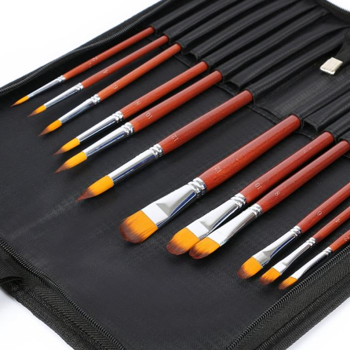 Yorki 12pcs Professional Artist Brushes with brushegg Paint Brush Set for Acryli