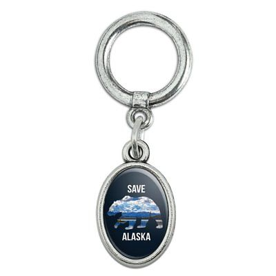 Save Alaska with Bear Mountains Water Shoe Sneaker Shoelace Oval Charm Jewelry