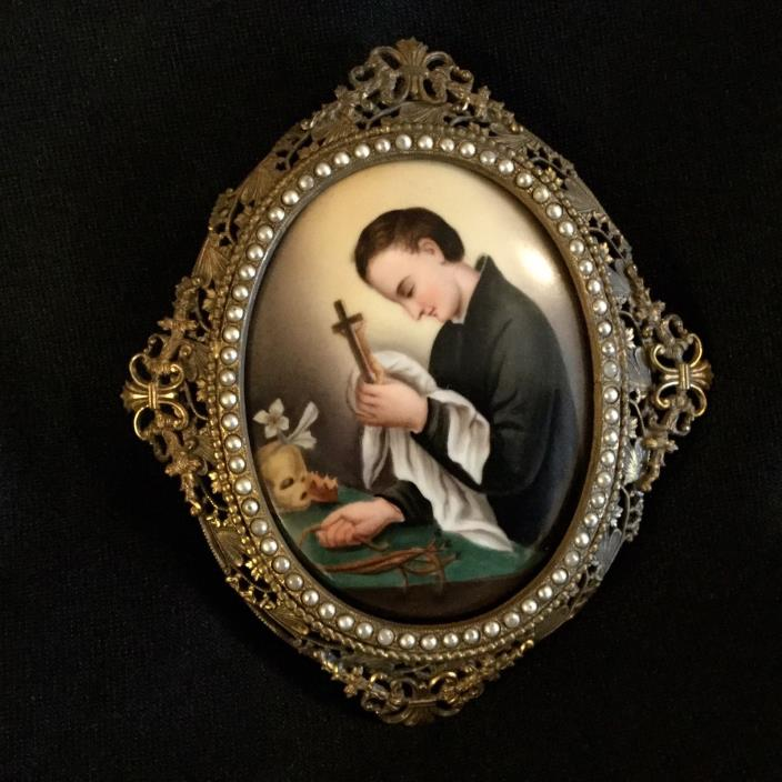 ANTIQUE HAND PAINTED PORCELAIN PLAQUE RELIGION,BRONZE FRAME WITH PEARL BEADS.