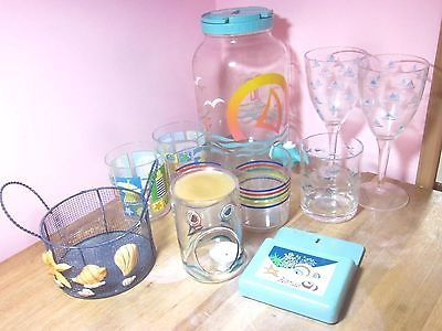 Beach Seashore Cottage Decor Spigot Juice Jug Soda Wine Glasses Basket Candle