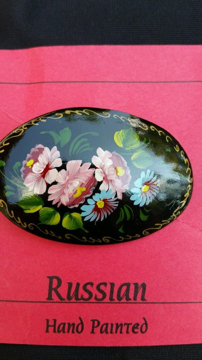 Large Vintage Anteque Oval Handpainted Floral Design Russian Brooch