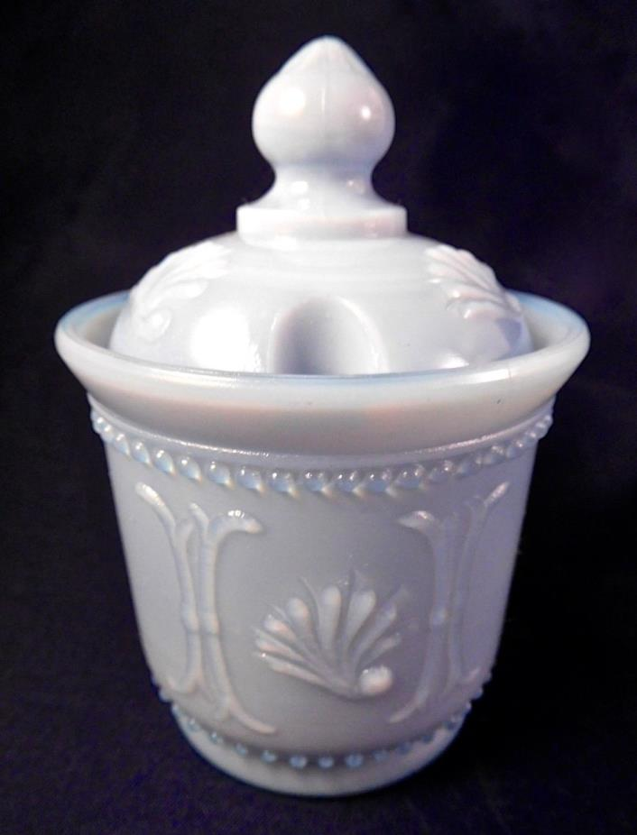 Lavender-Blue Opaline Glass Mustard Pot Jar, m/b French PV Portieux Vallerystahl