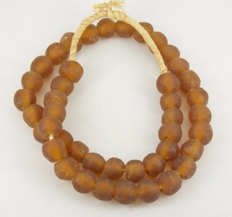 Vintage / Antique African Trade Beads Amber Glass Strand / Hank