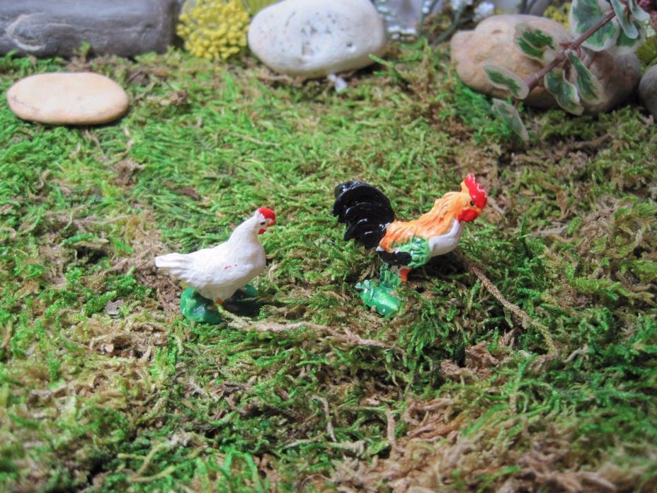 Dollhouse Miniature ~ Rooster and Hen ~ Fairy Garden ~ Farm ~ Back Yard ~