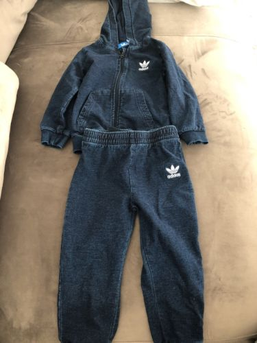 Adidas Two-piece Denim Tracksuit Sweatsuit Unisex Toddler Size 2-3y