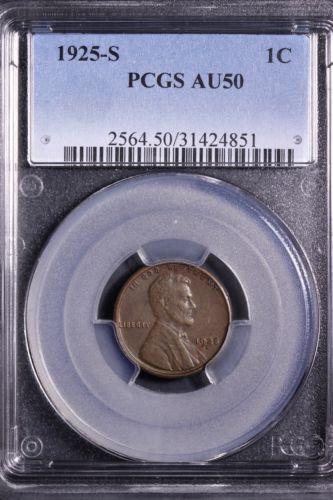 1925-S Lincoln Wheat Cent Penny PCGS AU50             **UCu**