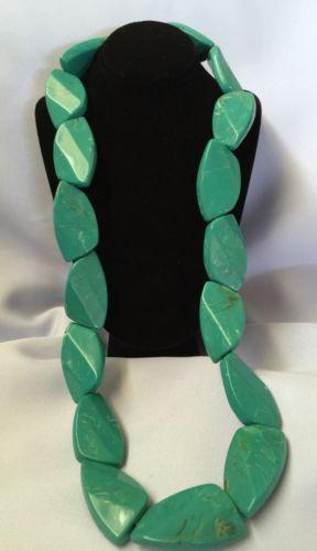 Vintage Huge Turquoise Long Necklace Nugget Huge Massive Size 23