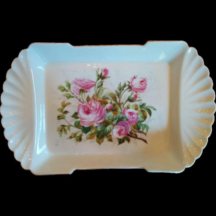 Victorian era later 1800s hand painted pink roses porcelain serving dish shallow