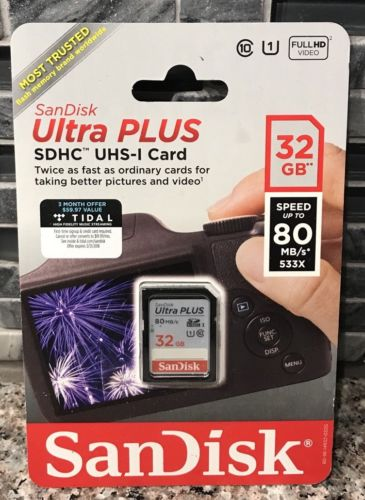 NEW SanDisk Ultra PLUS 80MB/s 32GB Class 10 SDHC 533X UHS-I HD Flash Memory Card