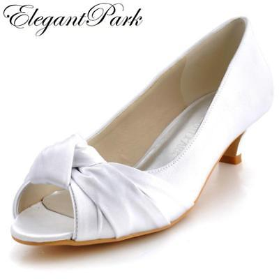 women Wedding pumps EP2045 Ivory White Comfortable low Wedding Heels Peep Toe Kn