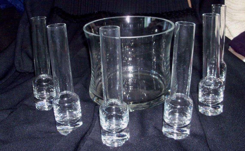 6 Glass Tall Beaker Style Shot Glasses Set and Glass Ice Holder