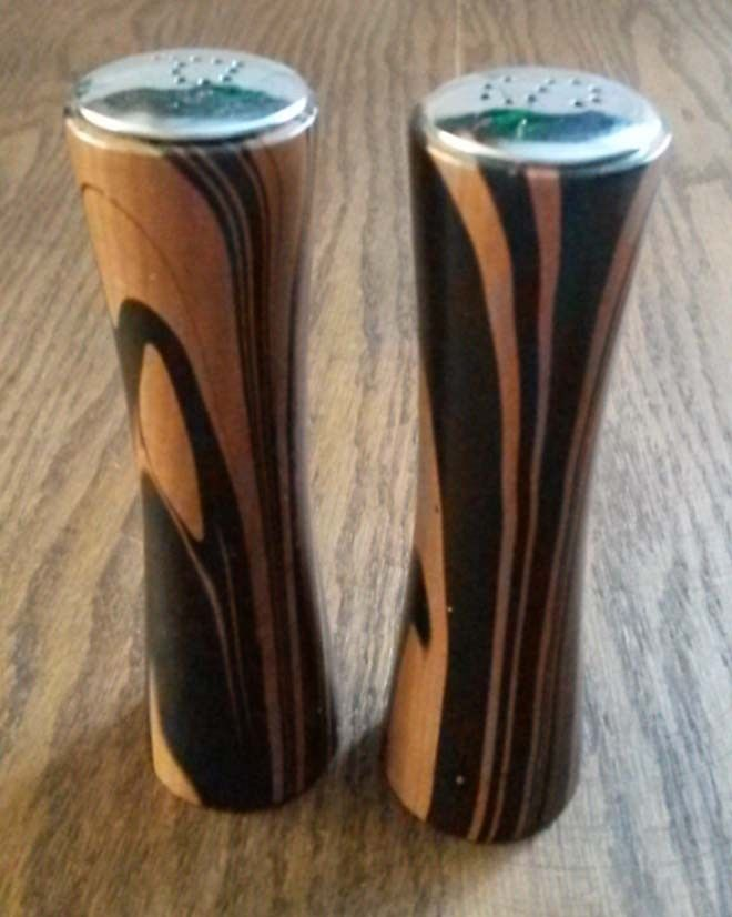 Pair of Teakwood Vintage Mid Century Modern Salt & Pepper Shakers