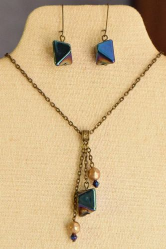 USA Made recycled jewelry earrings necklace set antique brass gold tone blue