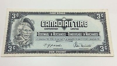 1947 Canadian Tire 3 Three Cents CTC-S4-A-AN Circulated Money Banknote D184
