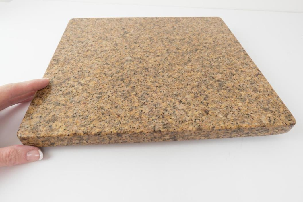 Granite Lazy Susan Cheese Cutting Board 14 Inch Square Brown and Black