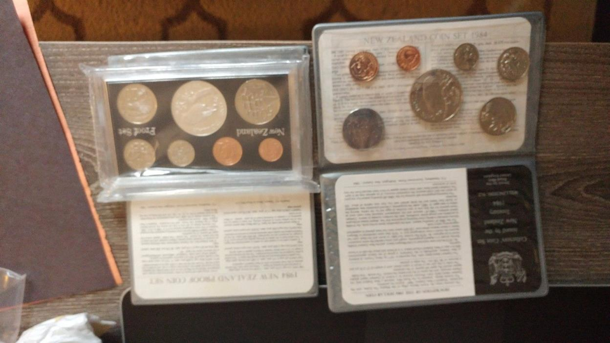 1984 New Zealand Mint Coin Sets - Silver & Non-Silver Issues