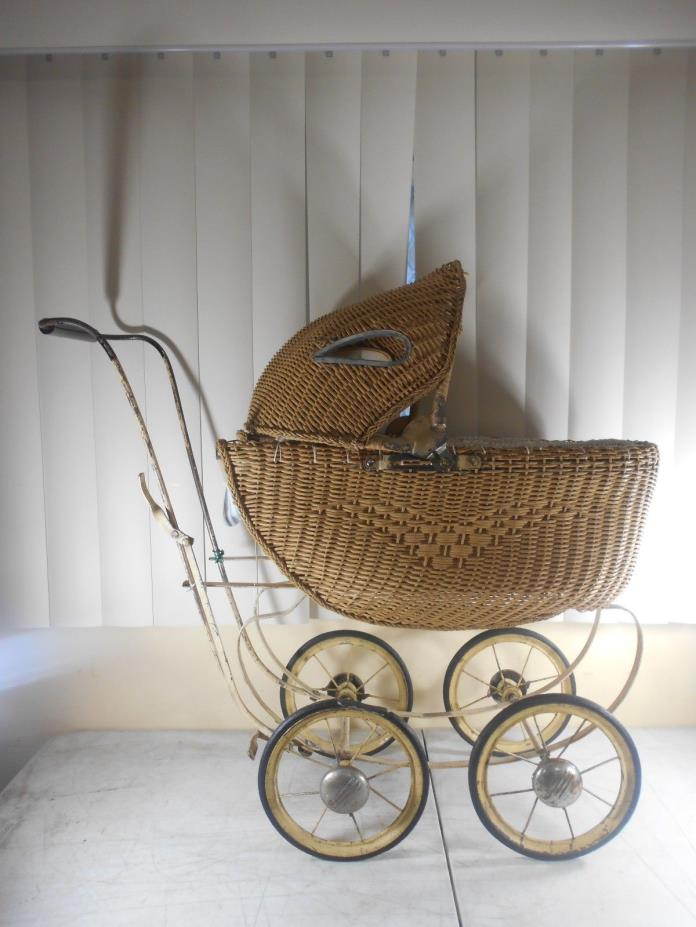 Antique South Bend Wicker Baby Doll Buggy Carriage Stroller Pram  29