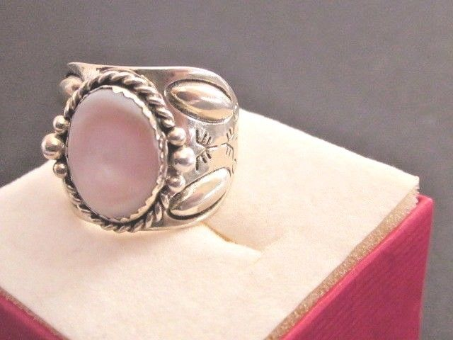 Vintage Signed CG? Sterling Silver Pink Opal Sz. 8  Ring