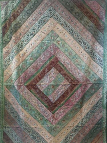 Vintage Silk Metallic Thread Coverlet Panel Tablecloth Quilt 60