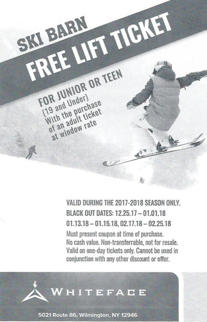 Whiteface - Free Youth Ticket with adult ticket purchase