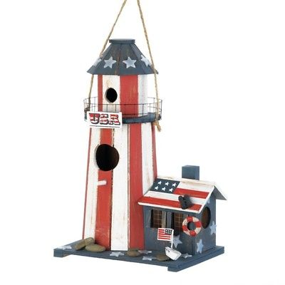 Patriotic Lighthouse Red White Blue Wood Birdhouse