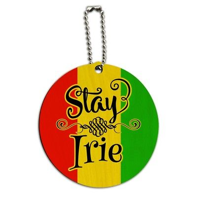 Stay Irie Rastafarian Flag Round Wood Luggage Card Suitcase Carry-On ID Tag