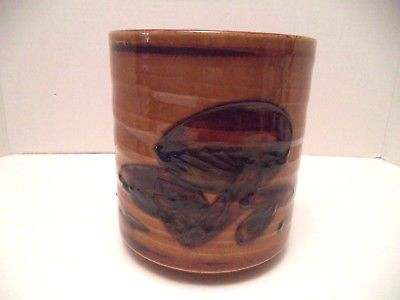 Vintage 70s Wony Ltd Japan mushroom design pottery utensil crock brown jar