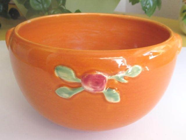 Vintage Coors Pottery Orange Rosebud Bowl 4 1/2 by 7 3/4 In.