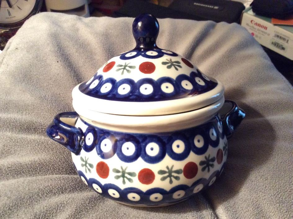 POLISH BOLESLAWIEC POTTERY SMALL COVERED SERVING DISH/CASSEROLE